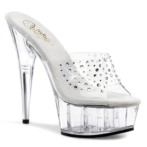 DELIGHT-601RS Pleaser Sexy Shoes 6 Inch Heel Clear Platforms Slide Slip on Shoes-Platforms (Exotic Dancing)-Pleaser-7 uk (40 Europe - 10 Usa)-Clear/Clear-Miss Hollywood Sexy Shoes