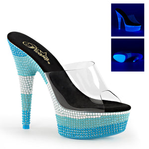 "DELIGHT-601UVS 6"" Heel Clear Neon Multi Blue Strippers Shoes-Pleaser- Sexy Shoes"