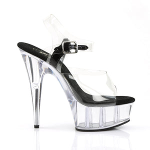 "DELIGHT-608 6"" Heel Clear and Black Pole Dancing Platforms-Pleaser-Miss Hollywood Sexy Shoes"