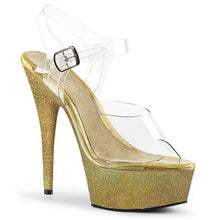 "Load image into Gallery viewer, DELIGHT-608HG 6"" Heel ClearGold Glitter Pole Dancing Shoes"