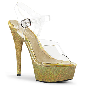 "DELIGHT-608HG 6"" Heel ClearGold Glitter Pole Dancing Shoes"