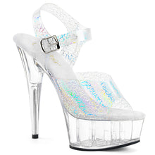 Load image into Gallery viewer, Sexy DELIGHT-608N-CK Pleaser Sexy Shoes 6 Inch Stiletto Heel Holographic Ankle Strap Platforms Sandals Silver or Black