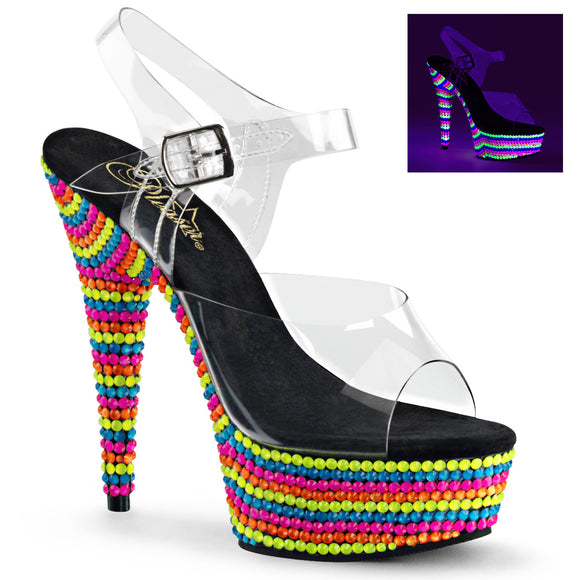 DELIGHT-608RBS Sexy Pleaser Shoes High Heels UV Beads - Miss Hollywood