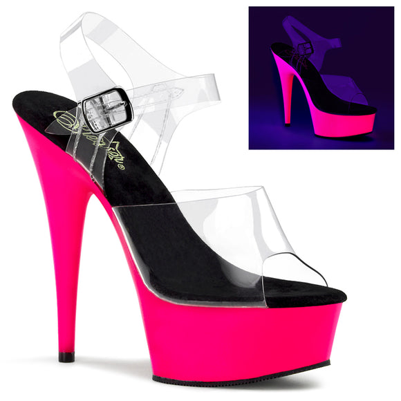 DELIGHT-608UV Pleaser Sexy Shoes 6 Inch Stiletto Heel Ankle Strap UV Platforms Sandal