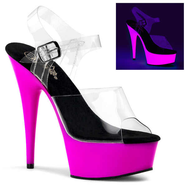 DELIGHT-608UV Pleaser Sexy Shoes 6 Inch Heel, Neon UV Platforms Ankle Strap Sandals