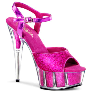 DELIGHT-609-5G Pleaser Sexy 6 Inch Heel Glitter Filled Platforms Ankle Strap Sandals - Miss Hollywood Pleaser Shoe Supplier