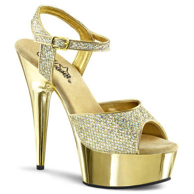 DELIGHT-609G Pleaser Sexy Shoes 6 Inch Heel, 1 3/4 Inch Gold Chrome Platforms Ankle Strap Sandals - Miss Hollywood