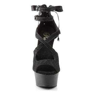 DELIGHT-678LC 6 Inch Heel Black Satin Pole Dancing Platforms-Pleaser- Sexy Shoes Alternative Footwear