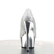 "Load image into Gallery viewer, DELIGHT-685G 6"" Heel Silver Glitter Pole Dancing Platforms"