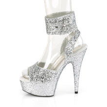 "Load image into Gallery viewer, DELIGHT-691LG 6"" Heel Silver Glitter Pole Dancing Platforms"