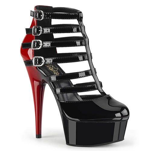 DELIGHT-695 6 Inch Heel Black and Red Pole Dancing Platforms