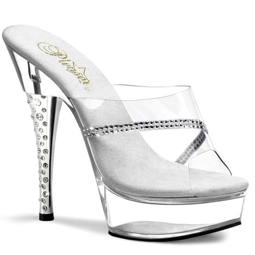 DIAMOND-601R Sale Pleaser Sexy Shoes 6 Inch Rhinestone Imbedded Heel Platform Slide Slip on Shoes - Sexy Shoes