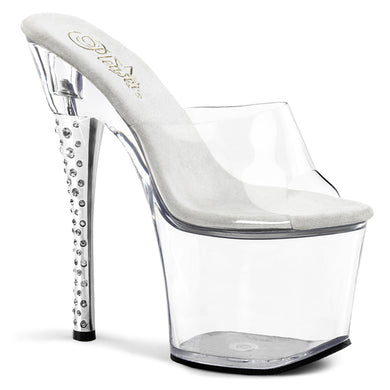 DIAMOND-701 Pleaser Sexy Shoes 7 Inch Rhinestone Imbedded Heel Platform Slide Slip on Shoes - Miss Hollywood