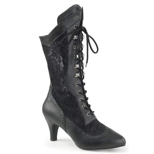 DIVINE-1050 Pleaser Sexy Boots 3 Inch Block Heel Wide Width/Shaft Lace Up Ankle Boots