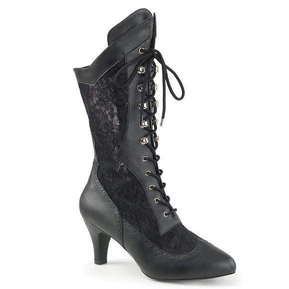 DIVINE-1050 Pleaser Sexy Shoes 3 Inch Block Heel Wide Width/Shaft Lace Up Ankle Boots