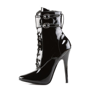 DOMINA-1023 Devious Fetish Shoes 6 Inch Ankle Boots with Interchangeable Ankle-Single Soles-Devious-Footwear Fetish-Black Patent-Miss Hollywood Sexy Shoes Pole Dancer Shoe Shop