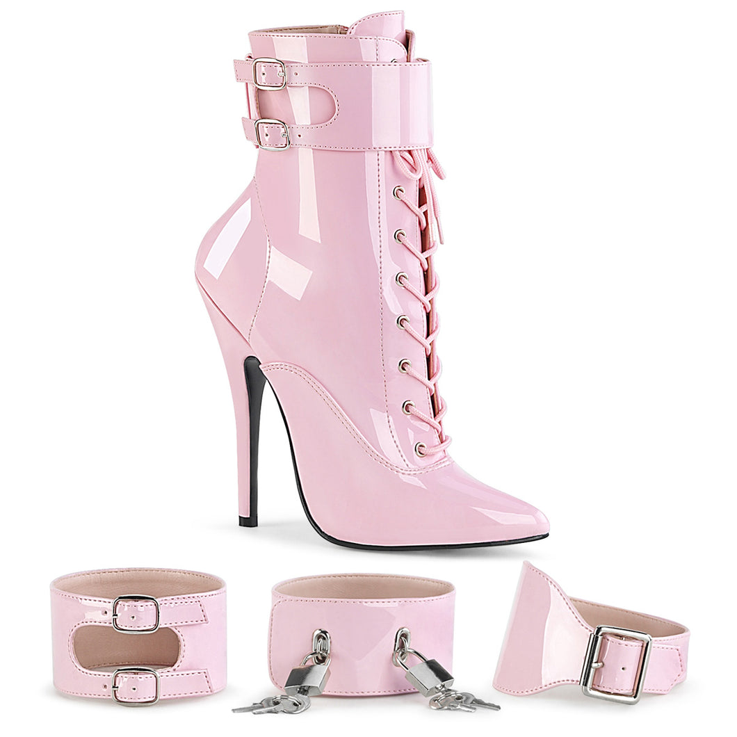 DOMINA-1023 Devious Fetish Heel 6 Inch Baby Pink Kinky Boots