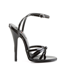 Load image into Gallery viewer, DOMINA-108 Devious Fetish Shoes 6 Inch Strappy Ankle Wrap Sandals-Single Soles-Devious-Footwear Fetish-Black Patent-Miss Hollywood Sexy Shoes Pole Dancer Shoe Shop