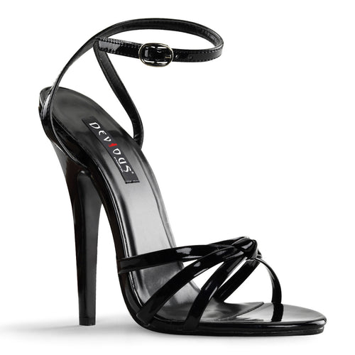 DOMINA-108 Devious Fetish Shoes 6 Inch Strappy Ankle Wrap Sandals-Single Soles-Devious-7 uk (40 Europe - 10 Usa)-Black Patent-Miss Hollywood Sexy Shoes