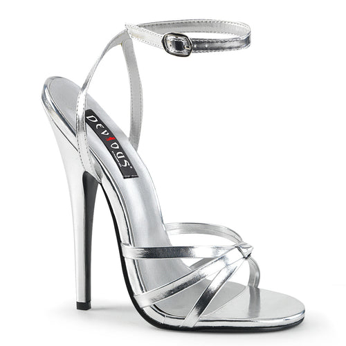 DOMINA-108 Devious Fetish Footwear 6 Inch Heel Silver Shoes