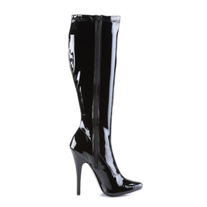 DOMINA-2000 Devious Fetish Shoes 6 Inch Plain Stretch Knee High Length Boots-Single Soles-Devious-Footwear Fetish-Black Str Patent-Miss Hollywood Sexy Shoes Pole Dancer Shoe Shop
