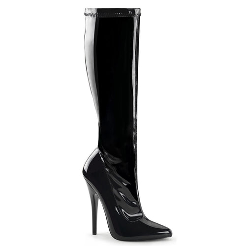 DOMINA-2000 Devious Fetish Shoes 6 Inch Plain Stretch Knee High Length Boots - Sexy Shoes - 1