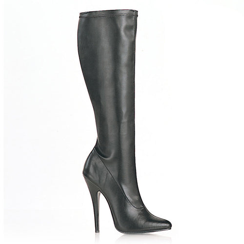 DOMINA-2000 Devious Fetish Shoes 6 Inch Plain Stretch Knee High Length Boots-Single Soles-Devious-Heels for men-Miss Hollywood Sexy Shoes