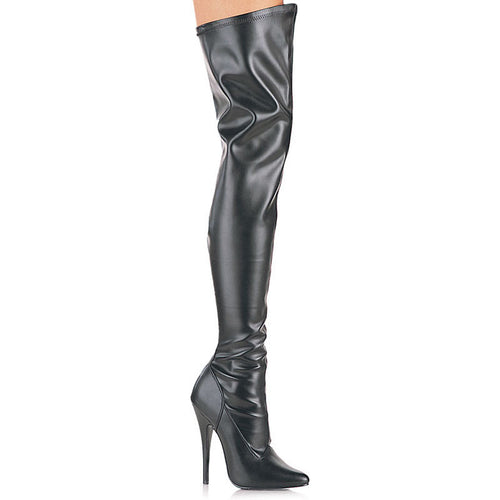 DOMINA-3000 Devious Fetish Shoes 6 Inch Plain Stretch Thigh High Length Boots, Side Zip-Single Soles-Devious-Heels for men-Miss Hollywood Sexy Shoes