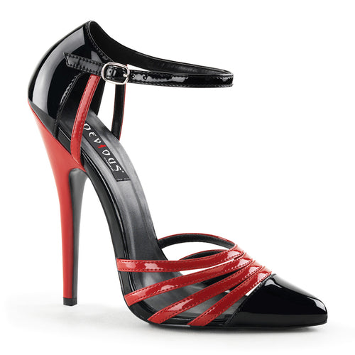 DOMINA-412 Devious 6 Inch Heel Black and Red Exotic Shoes