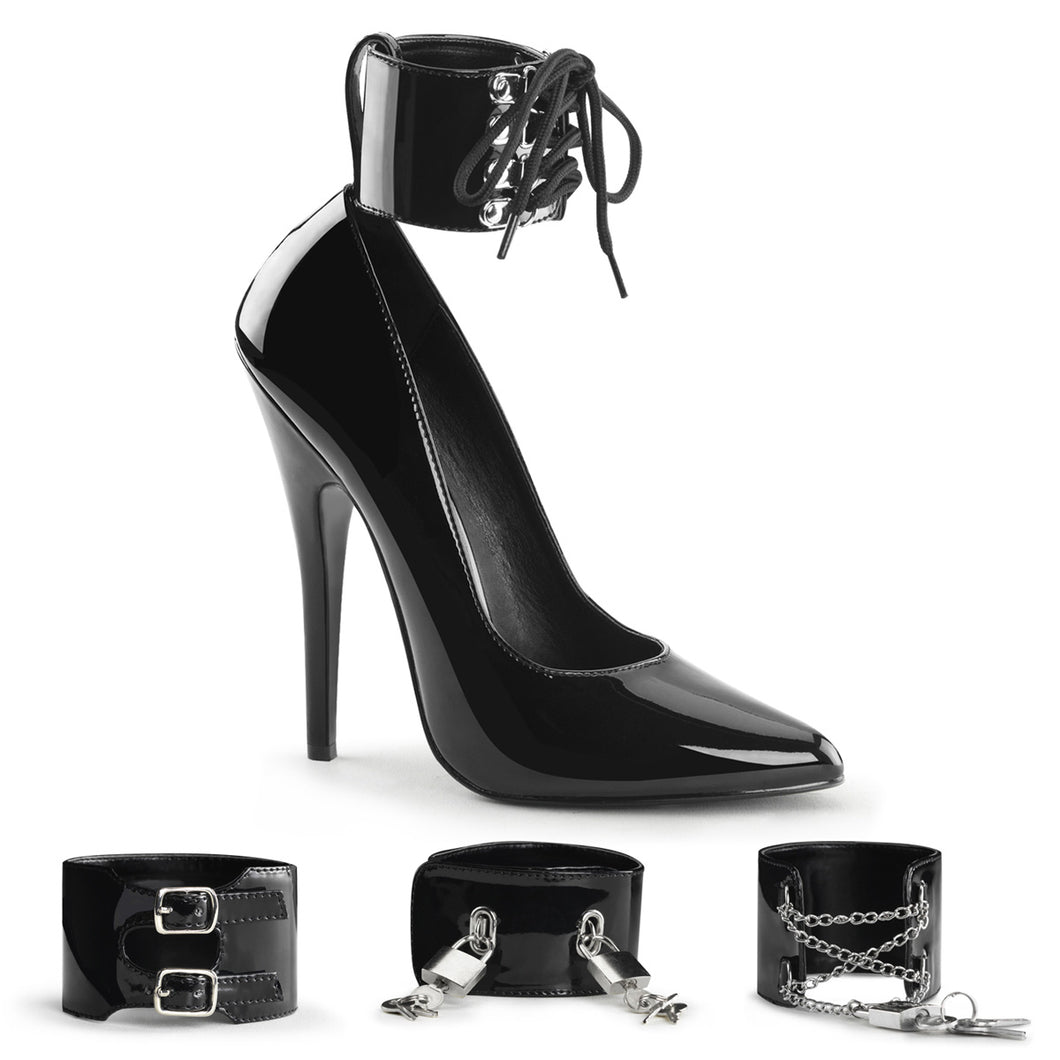 DOMINA-434 Devious 6 Inch Heel Black Patent Erotic Shoes-Devious- Sexy Shoes
