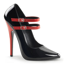 Load image into Gallery viewer, DOMINA-442 Devious Fetish Shoes 6 Inch Mary Jane Stiletto Heel Shoes Pumps with Contrast Heel-Single Soles-Devious-Footwear Fetish-Black-Red Patent-Miss Hollywood Sexy Shoes