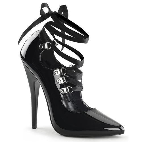 DOMINA-456 Devious 6 Inch Heel Black Patent Erotic Shoes