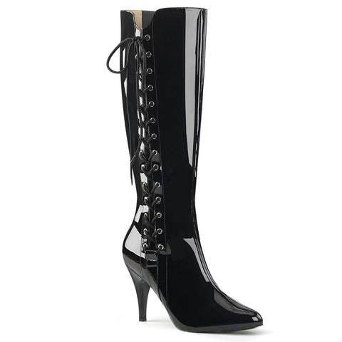 DREAM-2026 Pleaser Sexy Shoes 4 Inch Heel Stiletto Heel Side Lace Up Knee High Boot