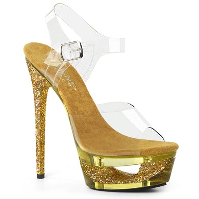 ECLIPSE-608GT Pleaser Sexy Shoes with 6 1/2 Inch Heel Cut-Out Platforms Ankle Strap Glitter Shoes for Strippers