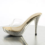 ELEGANT-401 Sexy Posing Style Shoes Clear Gold Platforms Bling