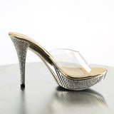 ELEGANT-401 Sexy Posing Style Shoes Clear Gold Platforms Exotic Dancewear