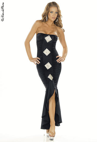 N4061 Sexy Long Gown with Sequin Flower Detail on Dress - Miss Hollywood