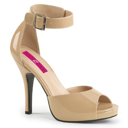 EVE-02 Pleaser Sexy Shoes Cream 5 Inch Heel Stiletto Heel Peep Toe Buckle Ankle Strap Sandal