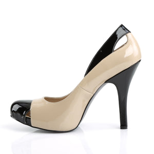 "EVE-07 Pink Label 5"" Heel Black-Cream Patent Platform Shoes"