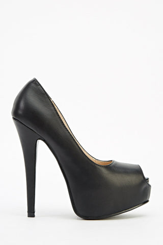 Sexy Black Faux Leather Peep Toe Platform High Heel Shoes - Sexy Shoes - 1