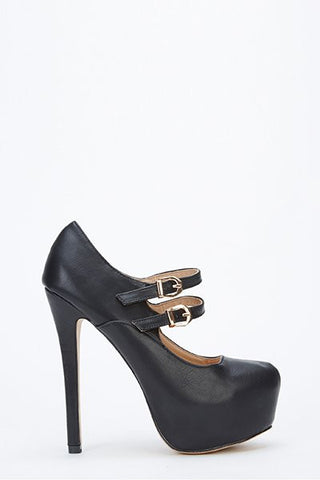 Sexy Black Mary Jane 2 Strap Platform High Heel Shoes - Sexy Shoes - 1