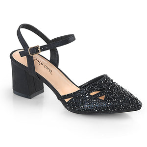"FAYE-06 Fetish 3"" Heel Black Shimmering Fabric Sexy Shoes"