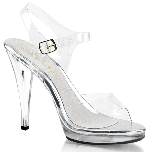 FLAIR-408 Fabulicious Sexy Shoes 4 1/2 Inch Stiletto Heel Ankle Strap Platforms Sandals-Shoes-Fabulicious-Footwear Fetish-Clear/Clear-Miss Hollywood Sexy Shoes