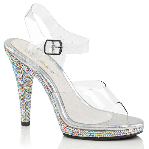 FLAIR-408DM Fabulicious Sexy Shoes 4 1/2 Inch Stiletto Heel Ankle Strap Rhinestone Bling Platforms Sandals-Shoes-Fabulicious-Footwear Fetish-Clear/Silver Multi RS-Miss Hollywood Sexy Shoes