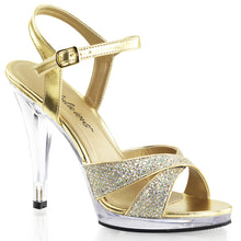 Load image into Gallery viewer, FLAIR-419(G) Gold Sexy Shoes 4 1/2 Inch Heel Criss Cross Ankle Strap Sandals-Shoes-Fabulicious-Footwear Fetish-Gold Multi Glitter/Clear-Miss Hollywood Sexy Shoes