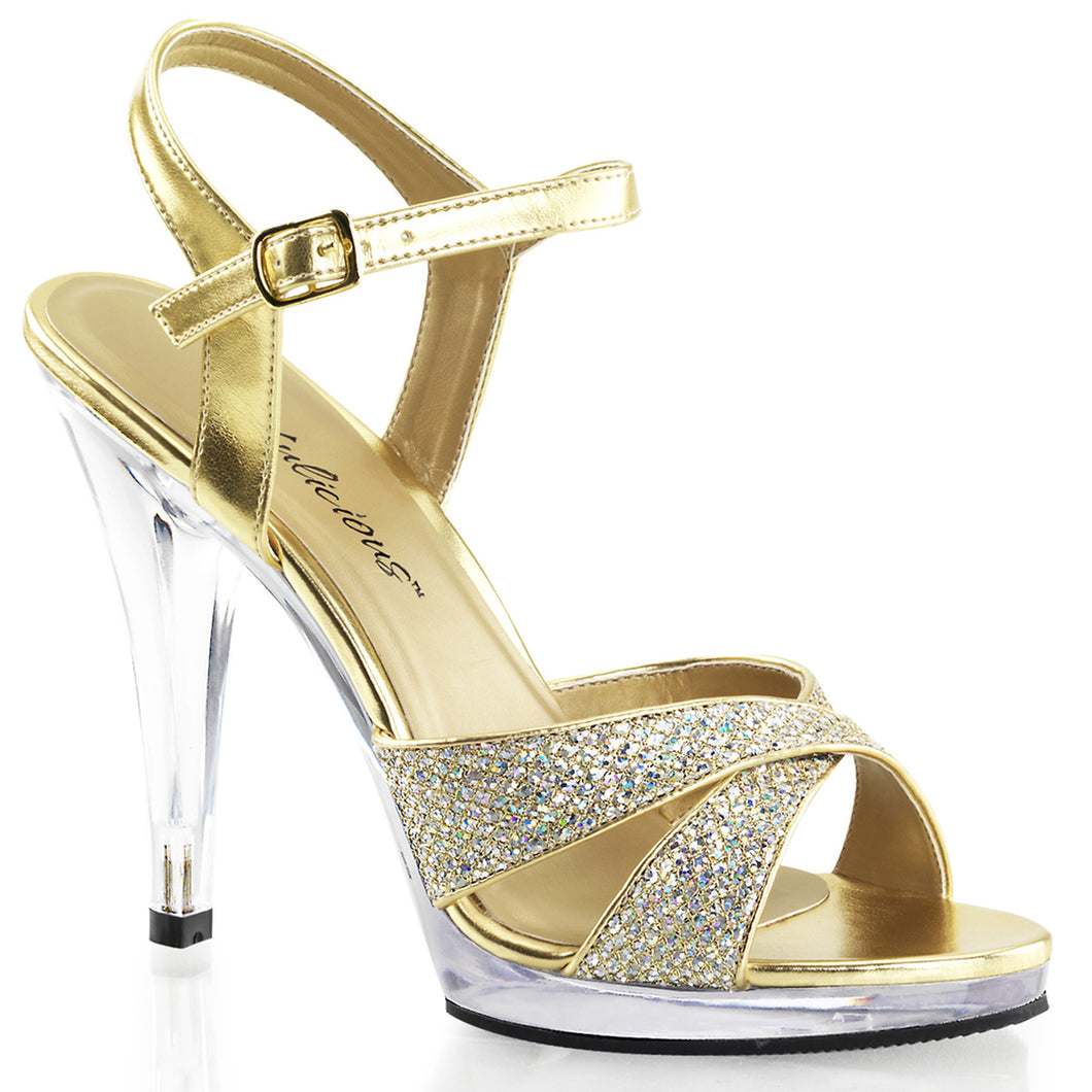 FLAIR-419(G) Gold Sexy Shoes 4 1/2 Inch Heel Criss Cross Ankle Strap Sandals-Shoes-Fabulicious-Footwear Fetish-Gold Multi Glitter/Clear-Miss Hollywood Sexy Shoes