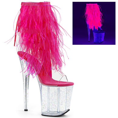 FLAMINGO-1017MFF Pleaser Sexy Shoes 8 Inch Heel Platforms Fur Fringed Ankle Boots