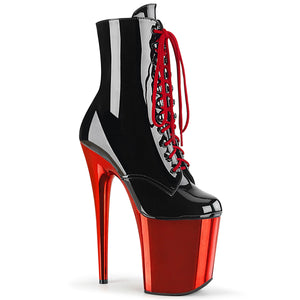 "FLAMINGO-1020 8"" Heel Black Red Chrome Pole Dancing Platform"