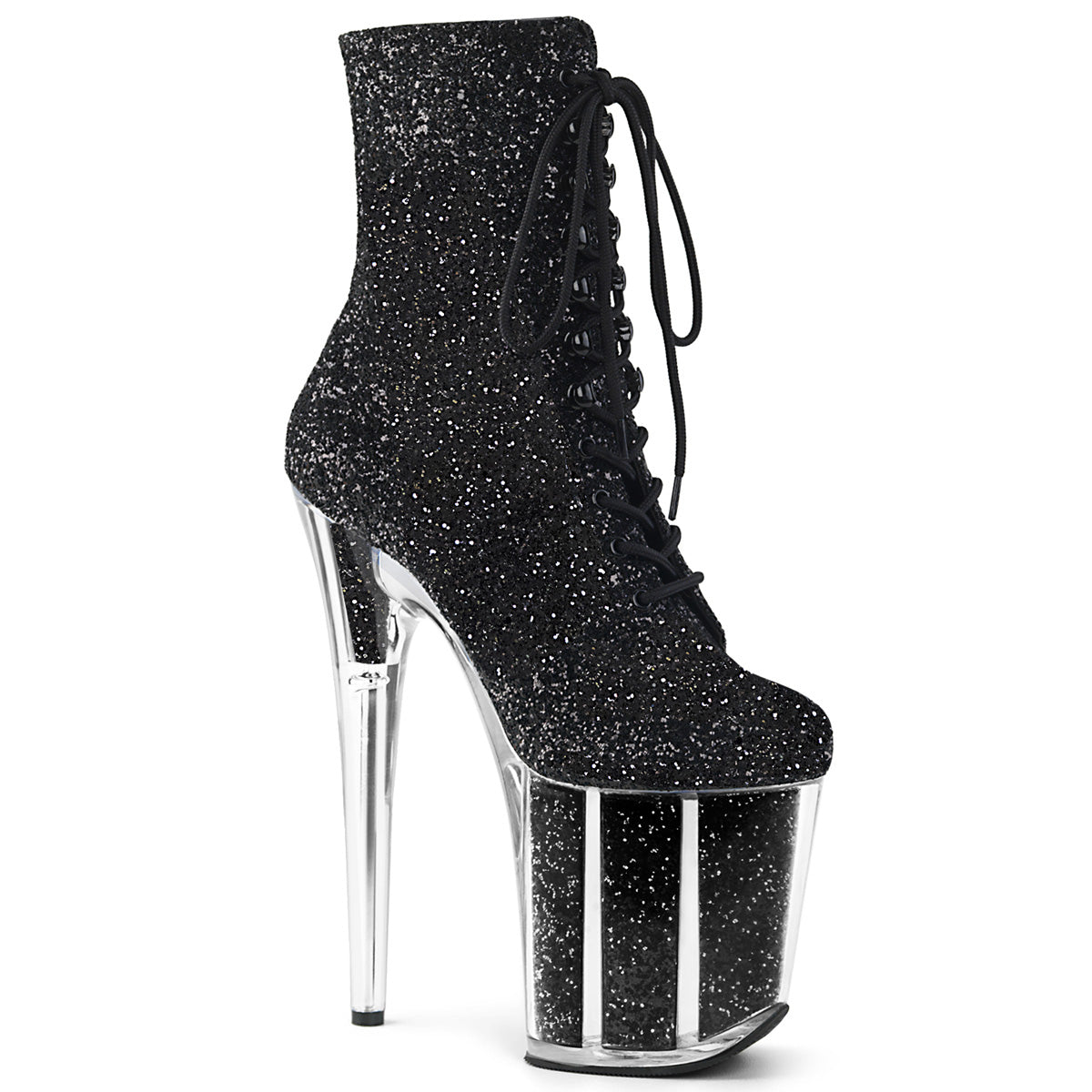 007df40934a5 FLAMINGO-1020G Fetish Pleaser Lace Up Sexy 8 Inch heel Glitter Ankle B –  Miss Hollywood Sexy Shoes