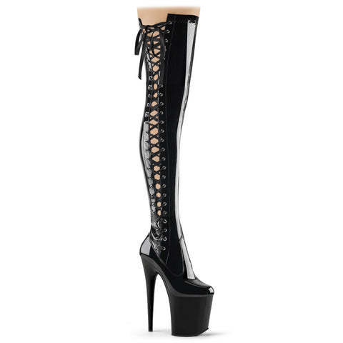 FLAMINGO-3050 Pleaser Sexy Shoes 8 Inch Heel Stretch Thigh High Length Ribbon Side Boots